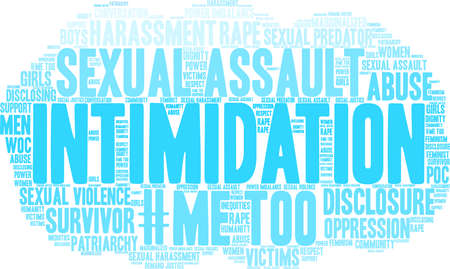 Intimidation word cloud on a white background.  Vectores