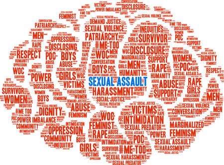 Sexual Assault word cloud on a white background.  Illustration