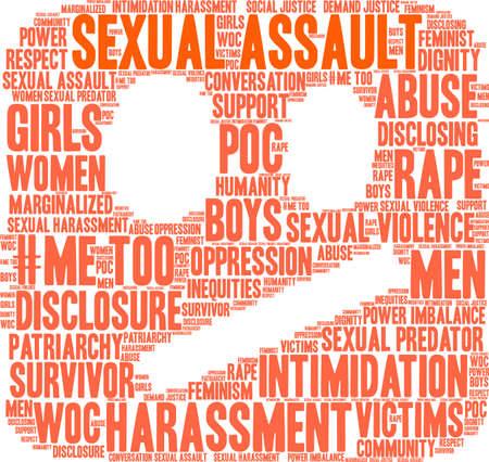 Nube di parola di aggressione sessuale su una priorità bassa bianca. Archivio Fotografico - 91310653