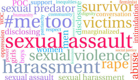 Sexual Assault word cloud on a white background.  Ilustrace