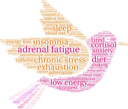 Nuvem da palavra da fadiga adrenal em um fundo branco. Foto de archivo - 92990423