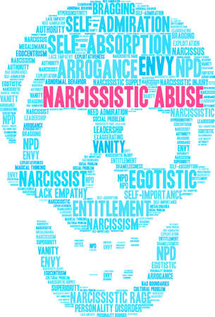 Narcissistic Abuse word cloud on a  white background.  Иллюстрация