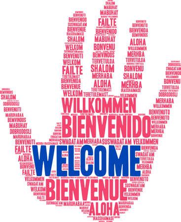 Internationale welkomstwoordwolk. Elk woord dat in deze woordwolk wordt gebruikt, is een andere talenversie van het woord Welkom. Stock Illustratie