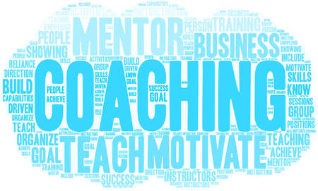 Coaching word cloud on a white background. Stok Fotoğraf - 92989802