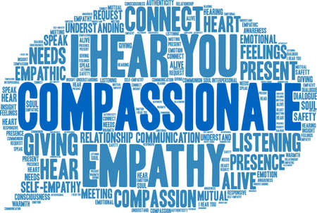 Compassionate word cloud on a white background.  イラスト・ベクター素材