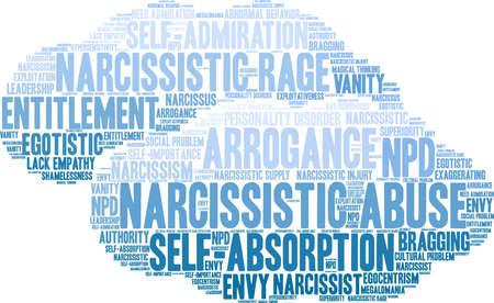 Nube di parola di abuso narcisistico su una priorità bassa bianca. Archivio Fotografico - 92989925