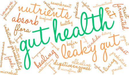 Gut Health word cloud on a white background.