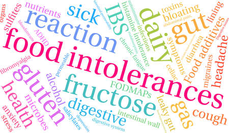 Food Intolerances word cloud on a white background. Stock Vector - 92990040