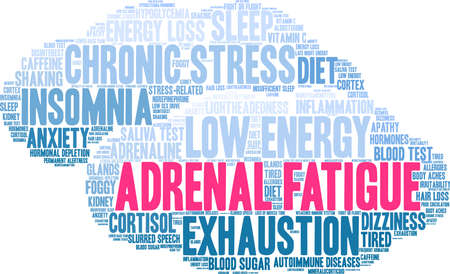 Adrenal Fatigue word cloud on a white background.  Vectores
