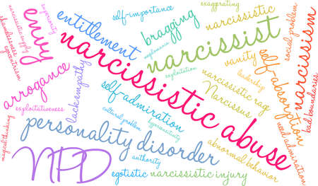 Narcissistic Abuse word cloud on a  white background.  Vectores