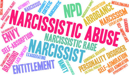 Narzisstische Missbrauchswortwolke auf einem weißen Hintergrund. Standard-Bild - 92990125