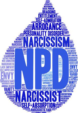 Nube di parola di NPD su uno sfondo bianco.
