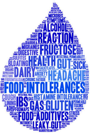Food Intolerances word cloud on a white background. Stock Vector - 92990129