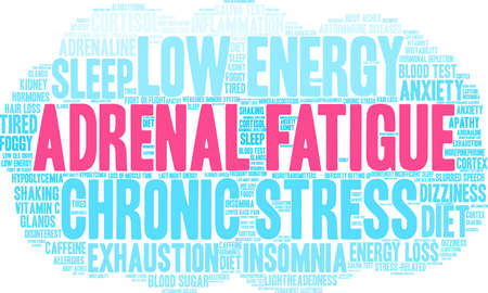 Adrenal Fatigue word cloud on a white background.  Ilustracja