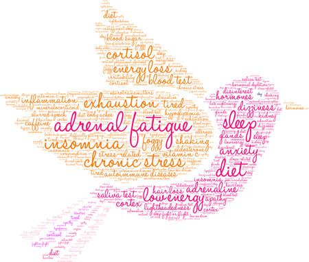 Nuvem da palavra da fadiga adrenal em um fundo branco. Foto de archivo - 92990174