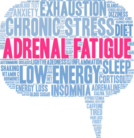 Adrenal Fatigue word cloud on a white background.   イラスト・ベクター素材