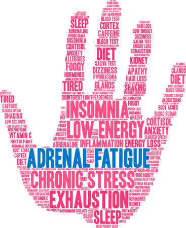 Adrenal Fatigue word cloud on a white background.  Illusztráció