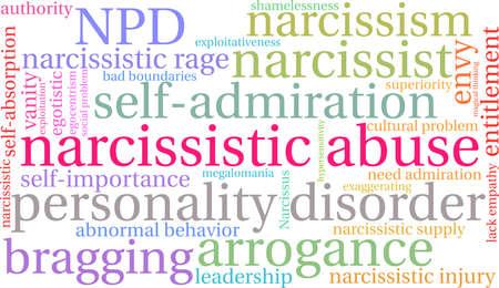 Narzisstische Missbrauchswortwolke auf einem weißen Hintergrund. Standard-Bild - 92990224