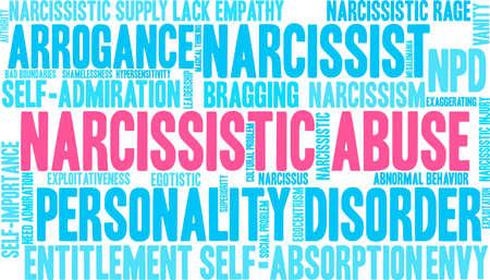 Narzisstische Missbrauchswortwolke auf einem weißen Hintergrund. Standard-Bild - 92990221