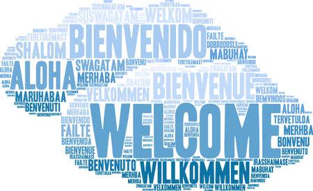 Internationale welkomstwoord cloud. Elk woord dat in deze woordwolk wordt gebruikt, is een andere taalversie van het woord Welkom.