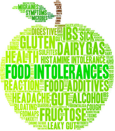 Food Intolerances word cloud on a white background. 免版税图像 - 92942835