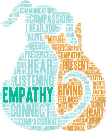 Empathy Brain word cloud on a white background.  일러스트