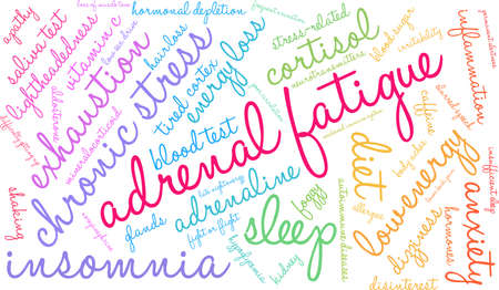 Adrenal fatigue word cloud on a white background. Illustration