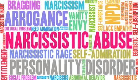 Narcissistic Abuse word cloud on a  white background.  Ilustracja