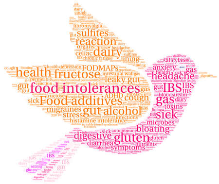 Food Intolerances word cloud on a white background. Stock Vector - 92942929