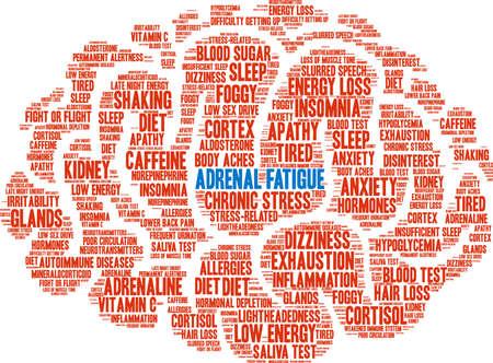 Nube de la palabra adrenal fatiga sobre un fondo blanco. Foto de archivo - 92990297