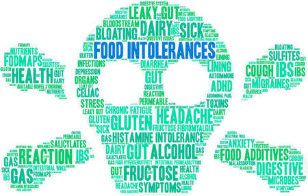 Food Intolerances word cloud on a white background. Stock Vector - 92990361
