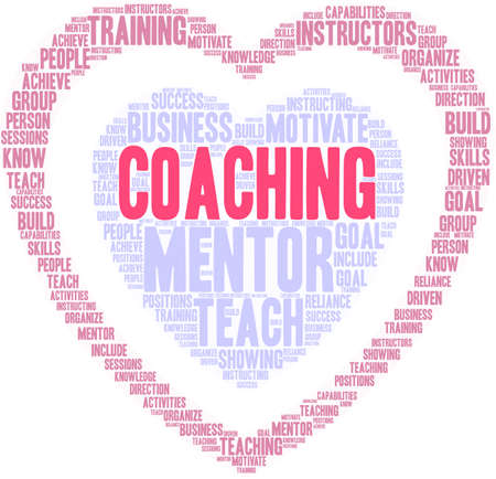 Coaching word cloud on a white background. Stock Illustratie