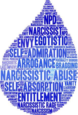 Nuvem narcisista da palavra do abuso em um fundo branco.
