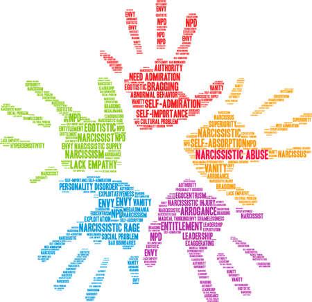 Narcisità di parola di abuso narcisistico su un fondo bianco. Archivio Fotografico - 92942575