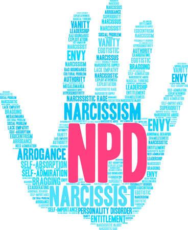 NPD-woordwolk op een witte achtergrond.