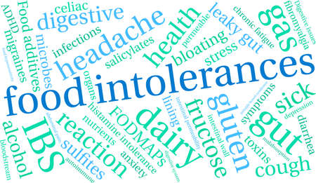 Food Intolerances word cloud on a white background. Stock Vector - 92990365