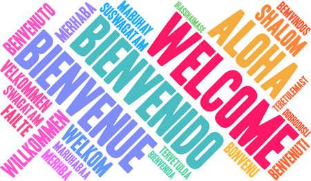 Internationale Willkommenswortwolke. Jedes in dieser Wortwolke verwendete Wort ist eine andere Sprachversion des Wortes Willkommen. Standard-Bild - 92990375