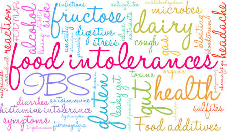 Food Intolerances word cloud on a white background. Stock Vector - 92990394