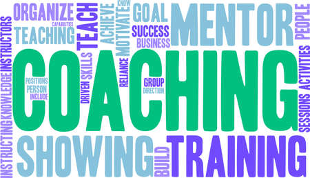 Coaching word cloud on a white background. Stok Fotoğraf - 92942941
