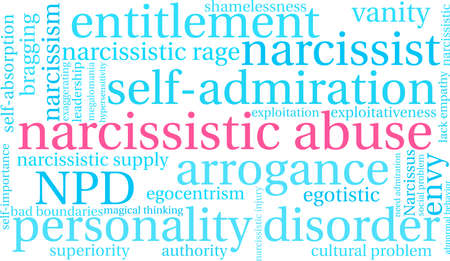 Narcissistic Abuse word cloud on a  white background.  向量圖像