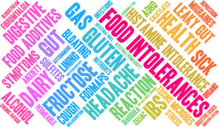 Food intolerances word cloud on a white background. Illustration