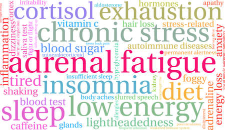 Adrenal Fatigue word cloud on a white background.  向量圖像