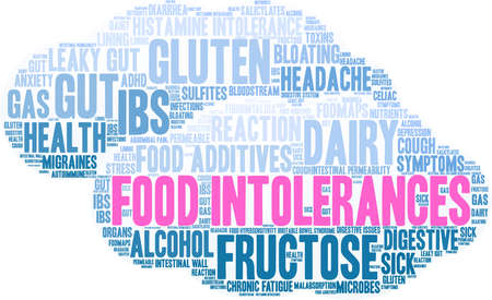 Food Intolerances word cloud on a white background. Stock Vector - 92943015