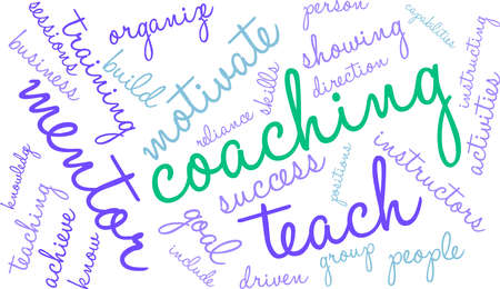 Coaching word cloud on a white background. Çizim