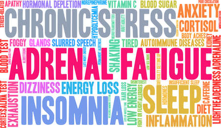 Adrenal Fatigue word cloud on a white background.  Ilustrace
