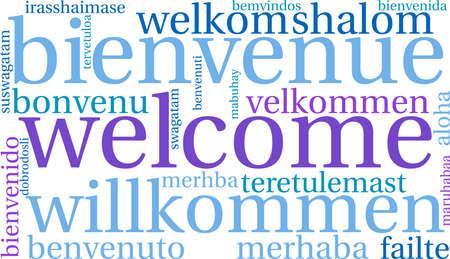 Internationale welkomstwoordenwolk. Elk woord dat in deze woordwolk wordt gebruikt, is een andere talenversie van het woord welkom.