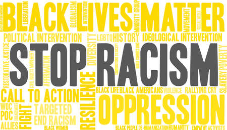 Stop Racism word cloud on a white background.