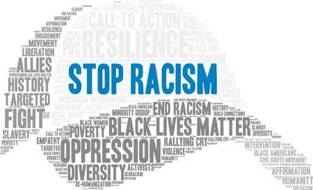 Pare a nuvem da palavra do racismo em um fundo branco. Foto de archivo - 93814645