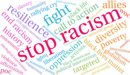 Stop Racism word cloud on a white background. Imagens - 93814648