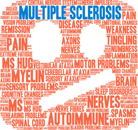Multiple Sclerosis word cloud on a white background.   イラスト・ベクター素材